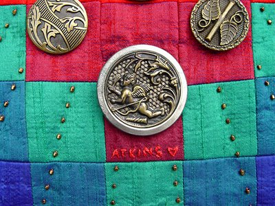 vintage buttons, detail on quilt by Robin Atkins, bead artist