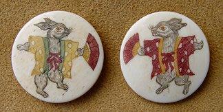 Japanese scrimshaw shank buttons