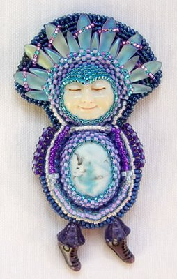 beaded and fringed cabochon pin by Tressie Hughes