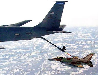 U.S. Air Force KC-135 refuels an Israeli Air Force F-16I