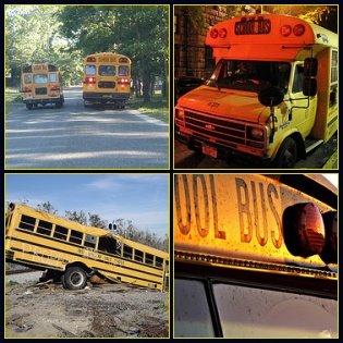 Mosaic of yellow school buses
