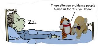 Child snoring in bed. 2 soft-toys listen to sounds and say, The allergen avoidance people blame us for this, you know