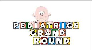 Paediatric Grand Rounds in alphabet blocks with a baby partly concealed behind