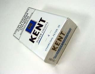 Kent cigarettes' packet bearing the warning: 'Your smoking can harm others'