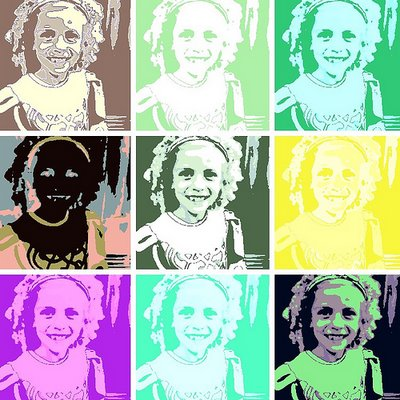 Picture of little girl given coloured and Warhol treatment