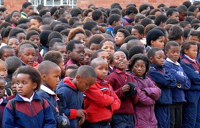 Crowd of schoolchildren in South Africa