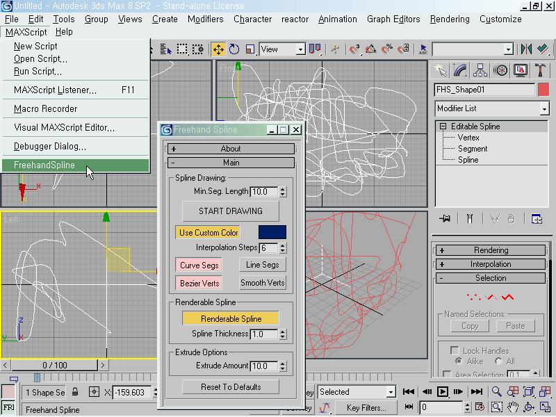 맥스, 프리핸드 곡선 그리기 - 3dsmax Freehand MacroScript