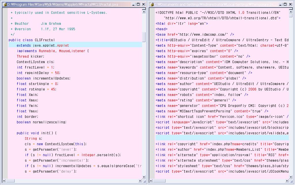 울트라에디트(UltraEdit)에서의, 문법 강조(Syntax Highlighting)