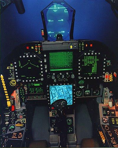 F 18 Cockpit The fighter cockpit of...