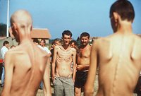 Photo: Bosniak civilians in Serb-run Concentration Camp Trnopolje