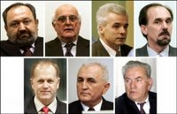 The trial of seven top Bosnian Serb military officials charged over the 1995 Srebrenica massacre of over 8,000 Muslims was to resume in the UN court here, in the biggest ever joint trial for war crimes committed during the Balkan wars in the 1990s. (From top L) Vujadin Popovic, Ljubisa Beara, Drago Nikolic, Ljubomir Borovcanin and Vinko Pandurevic (from bottom L) Vinko Pandurevic, Radivoje Miletic and Milan Gvero.