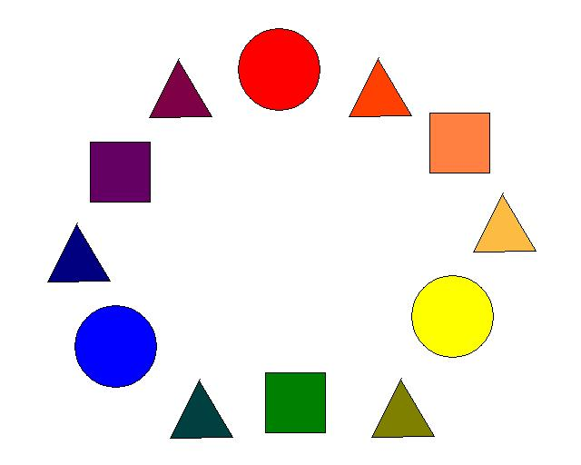This Color Wheel Shows Primary Circle Secondary Square And Tertiary Triangle Colors