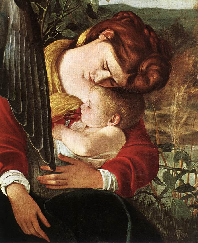CARAVAGGIO Rest during the flight from Egypt, detail of Mary and Jesus, c1597