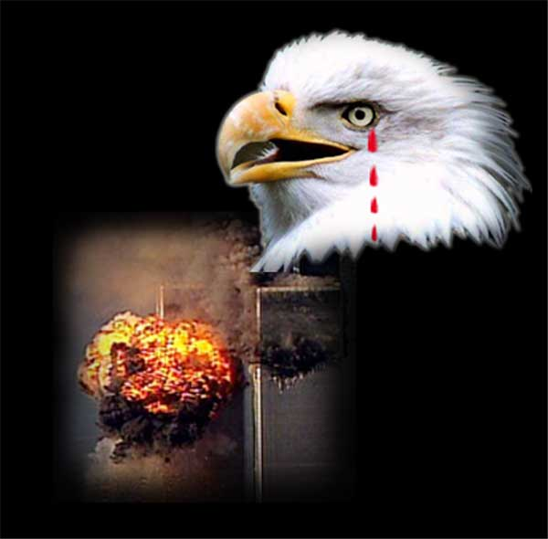 911 memorial american eagle flag twin towers  Stock