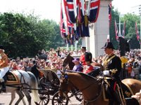 The Queen and Prince Philip on their way to Horse Guards Parade