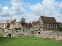 The abbey ruins with the Cathedral behind