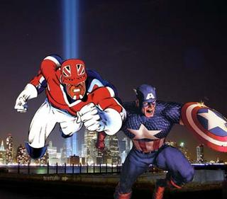 Captain Britain and Captain America.  Copyright and trademarks held by Marvel Comics