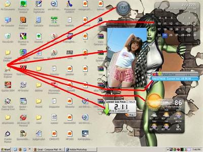 My desktop with Konfabulator widgets