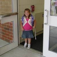 K starts kindergarten at the 'big kids' school