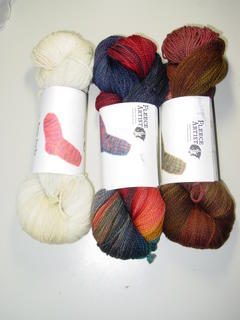 Fleece Artist Merino from Simply Socks Yarn Company, (l-r)Ivory, Hero, Mahogany