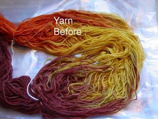 yarn before overdyeing the yellow