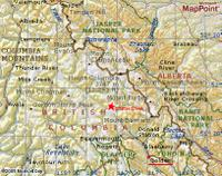 MapPoint Map from Golden to Mica Dam including Chatter Creek cat Skiing