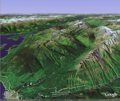 3D Google Image of Chatter Creek Cat Skiing tenure from the East