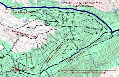 Chatter Creek's East Ridge Topography and Ski Runs