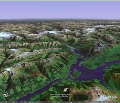 3D view of Chatter Creek from the West
