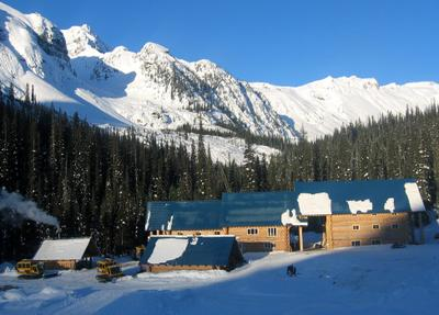 Snowcat skiing lodge at Chatter Creek