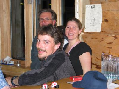 Chatter Creek Staff Dan and Jube relax with guests