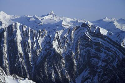 Dan Hudson high contrast photo of the Sullivan Fault and Mt Tsar taken from Chatter Creek's Vertebrae Glacier