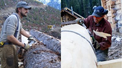 Log peeling for the new entrance at Vertebrae Lodge