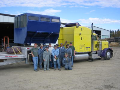A new snowcat cab leaves Metal Form Industries