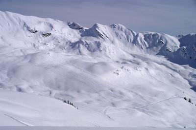 Snowcat skiing terrain in the Canadian Rocky Mountains