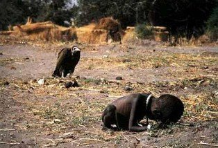Kevin Carter was a South African photojournalist. The picture of the vulture stalking a starving girl is real and was taken in Sudan in 1993. He was awarded Pulitzer prize in May of 1994 for the picture. Two months later he connected a hose to the exhaust pipe of his pickup truck and committed suicide.