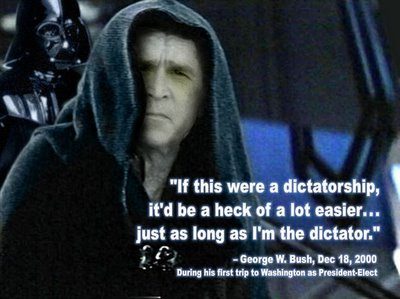Creepy Emperor Bush won't scare Dinorider and his homies!