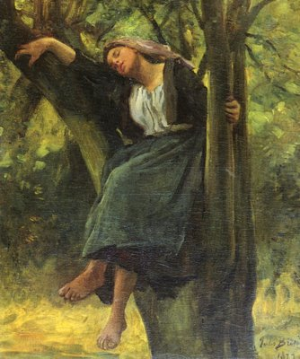 Jules Breton, «Asleep in the woods»