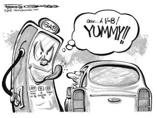 gas pump political cartoon