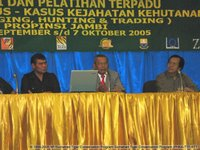 A rousing closing speech delivered by General Djaja Suparman (centre), accompanied by Bapak Arman (right; currently Director General of Forest Protection and Nature Conservation) and Daniel Sinaga (left; CITES Tiger Task Force representative