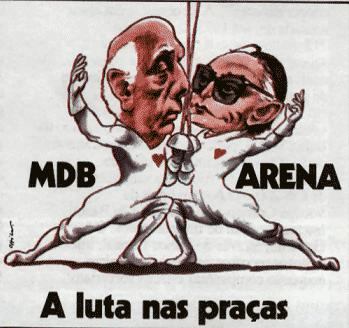 Cartoon de época sobre MDB e ARENA