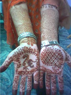 bridal henna tattoo for the palms