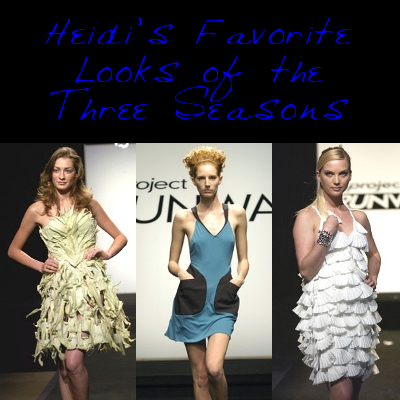 Austin Scarlett's cornhusk dress from Season 1's 'Innovation'; Chloe Dao's dress from Season 2's 'Clothes Off Your Back'; Michael Knight's coffee filter dress from Season 3's 'Wall to Wall'