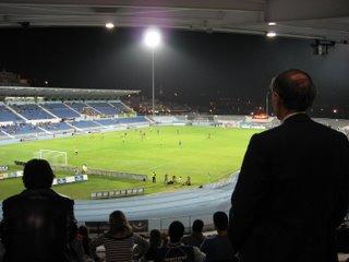Estádio do Restelo com o Cristo-Rei ao fundo