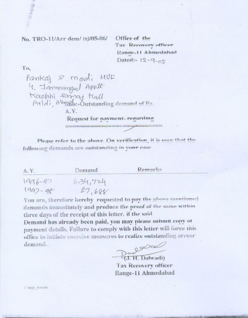 Correspondence with income tax department letter from tax recovery officer dated 12 9 05 spiritdancerdesigns Gallery