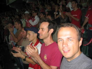 Rich and Joel in a sea of CSKA fans