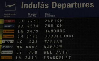 departure board at Ferihegy terminal 2b