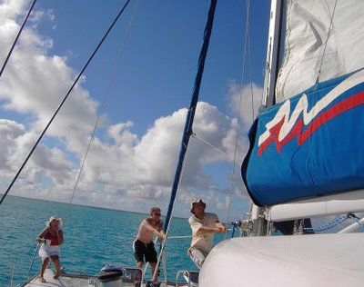 hauling up the mainsail