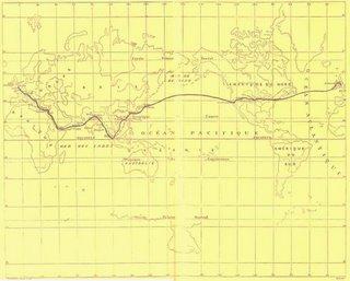 Itinerario de Phileas Fogg, publicado en la primera edición de la novela