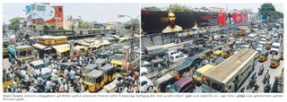 Traffic Congestion in Madras with Pudupettai movie banner as Backdrop